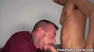Tattoo dude enjoys beer+smoke+blowjob
