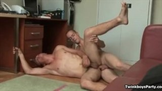 Hot twinks on spooning position