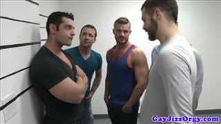 Three hunks in a orgy