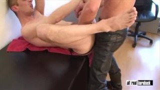 Cum hungry hole pounded by leather hunk