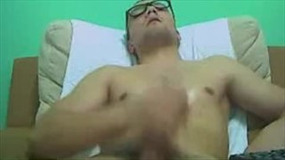 Guy jerking and unloading cum