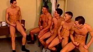 Cum together gay orgy